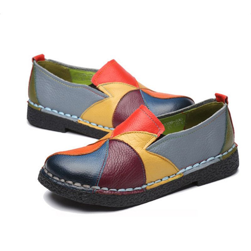 Spring Summer New PU Leather Women Flats Mixed Color Slip on Shoes for Women Moccasins Ladies Shoes Zapatos De Mujer VT660 (2)