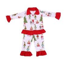 Детская одежда в рождественском стиле; зеленые топы и штаны с принтом рождественской елки, оленя и маленького монстра; детские пижамы