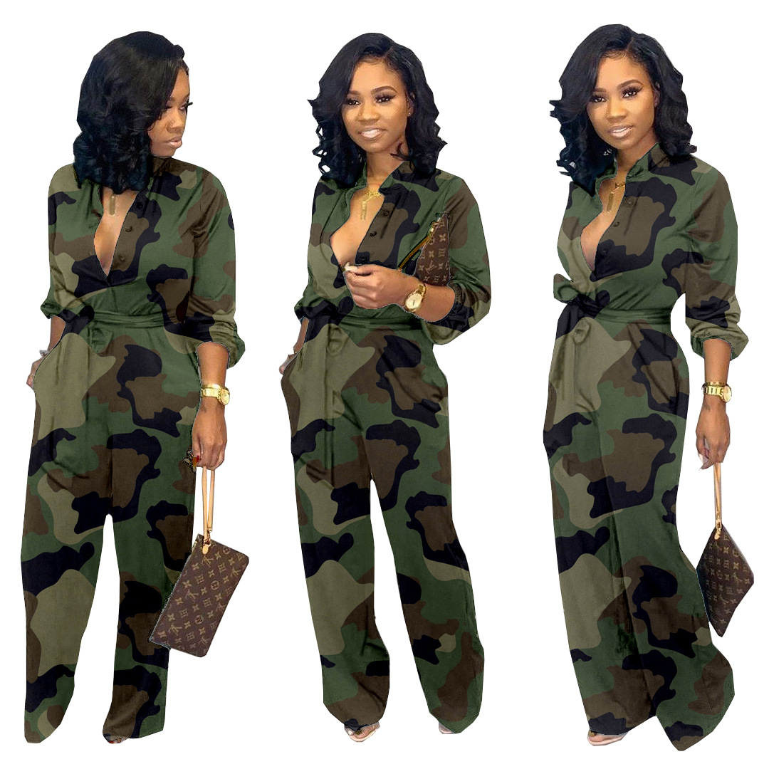 Hot Style Fashion Cross-border Exclusive For Hot Sales Europe And The United States Women's Pocket Wide-leg Pants Camouflage