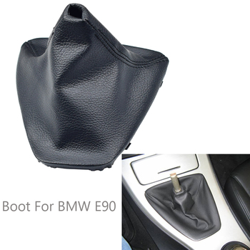 Auto Real Leather Gear Stick Shift Knob Lever Shifter Gaiter Boot Dust-Proof Cover Fit For BMW E90 E91 E92 E93 Car Styling image