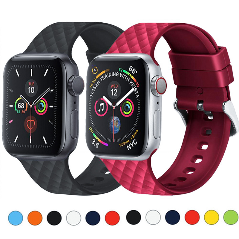 Silicone Strap For Apple Watch 5 Band 44mm 40mm Iwatch Band 42mm 38mm Woven Pattern Bracelet Watchband For Apple Watch 4 3 2 1