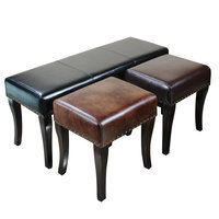 Leather shoes bench European style clothing store sofa stool solid wood foot leather coffee table