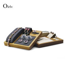 цена на Oirlv free shipping beige multifunction holder wooden ring earring bracelet  display stand necklace watch earrings cases