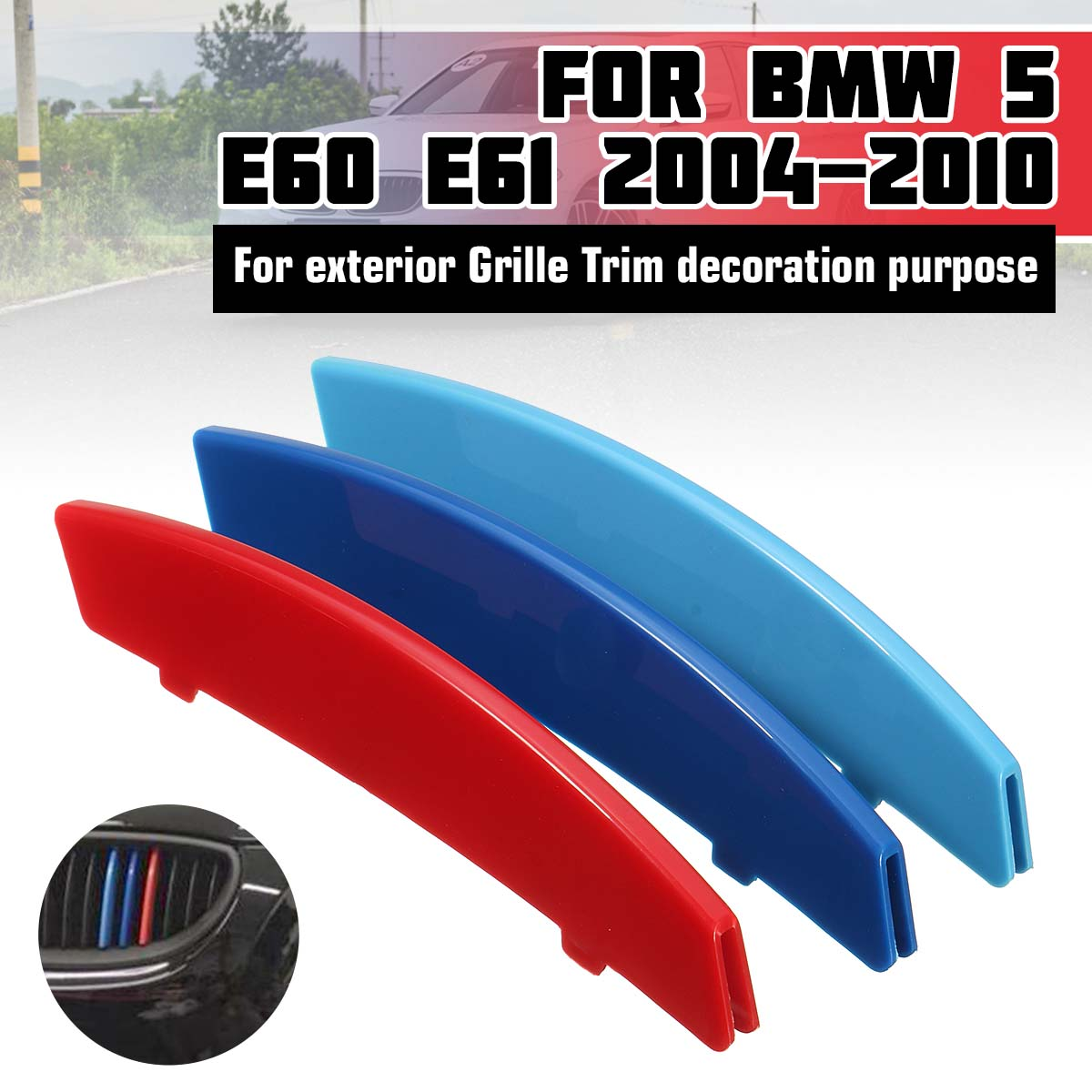 3pcs <font><b>Car</b></font> 3D M Styling Front Grille Trim Strip Cover Bumper <font><b>Stripes</b></font> Cover Stickers for <font><b>BMW</b></font> 5 Series E60 2004-2010 image