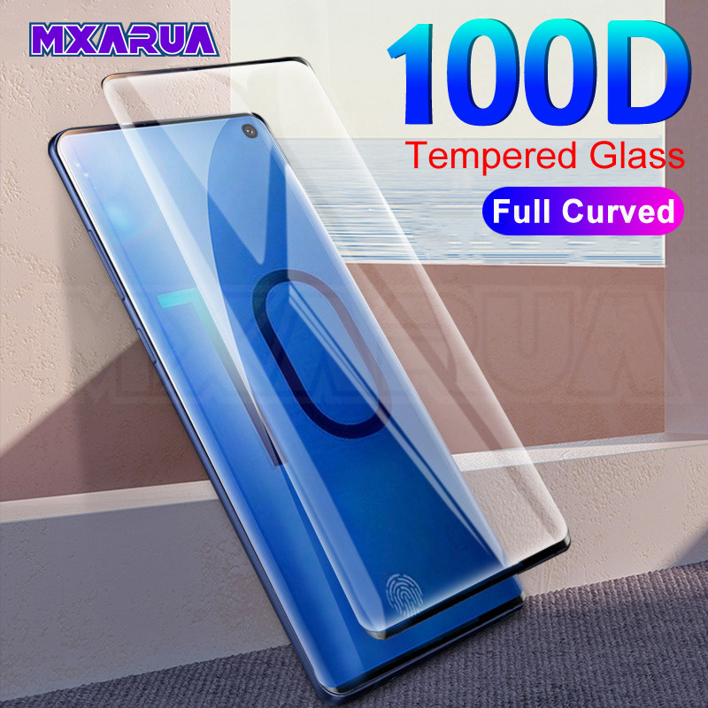 100D Full Curved Tempered Glass For Samsung Galaxy S10 S9 S8 Plus S10e Note 8 9 10 Pro Screen Protector Protective Film Case