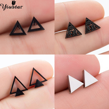 Multi Mini Cute Triangle Earings for Women Men Punk Black Geometric Stainless Steel Stud Earrings Fashion Ear Piercing Jewelry