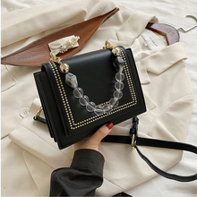 2020 Women's Shoulder Bag Leather Small Square Bag Luxury Handbags Fashion Beads Portable Messenger Shoulder Bags For Women