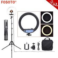 Fosoto RL 12II photographie lumière Ringlight 240 pièces Led anneau lampe lumière avec trépied support pour appareil Photo téléphone Studio Photo Youtube