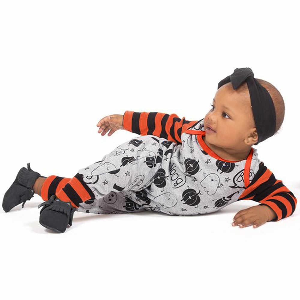 Mameluco de bebé de Halloween 0-24M niño bebé niña niño Impresión de Halloween calabaza de manga larga mameluco mono otoño ropa de bebé niñas