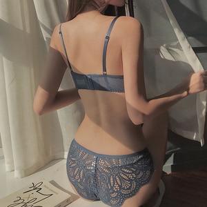 Image 2 - CINOON Conjunto de sujetador y lencería de encaje para mujer, sujetadores, ropa interior push up, conjunto de lencería de copa 3/4, sujetadores y bragas con flores bordadas
