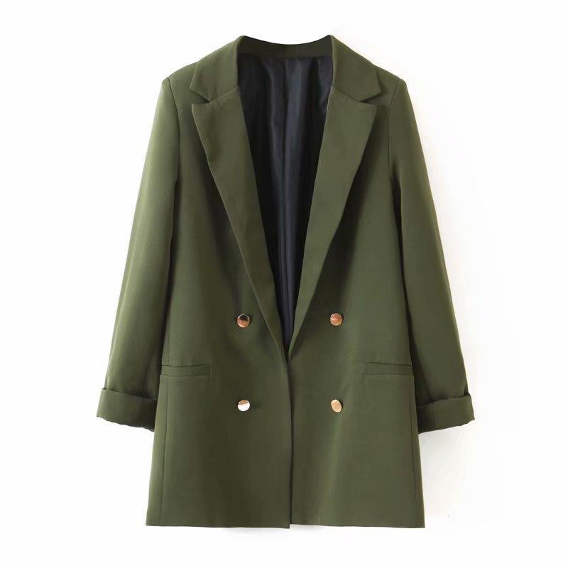 Women Decorate Button Open Stitch Soild Blazers Chic Army Green Stylish Coat Female Pockets Back Split Work Wear