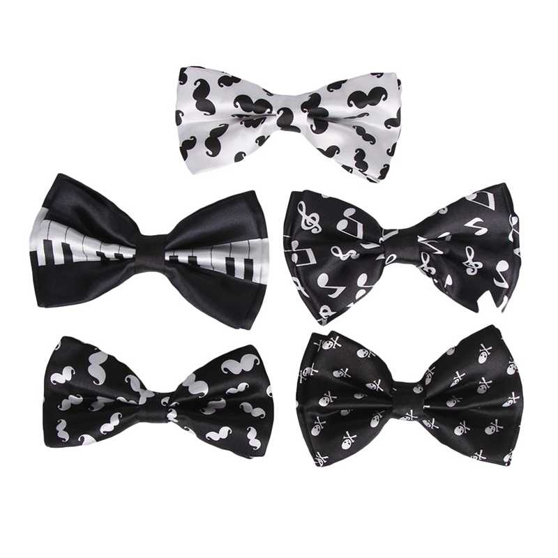 Fashion White Musical Note Black Bow Tie For Men Unisex Tuxedo Dress Bowtie Butterfly Brand New Fine Accessories