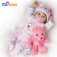 55cm Reborn Baby Dolls Girl Newborn Toy Silicone Vinyl Pink Outfit with Toy Bear