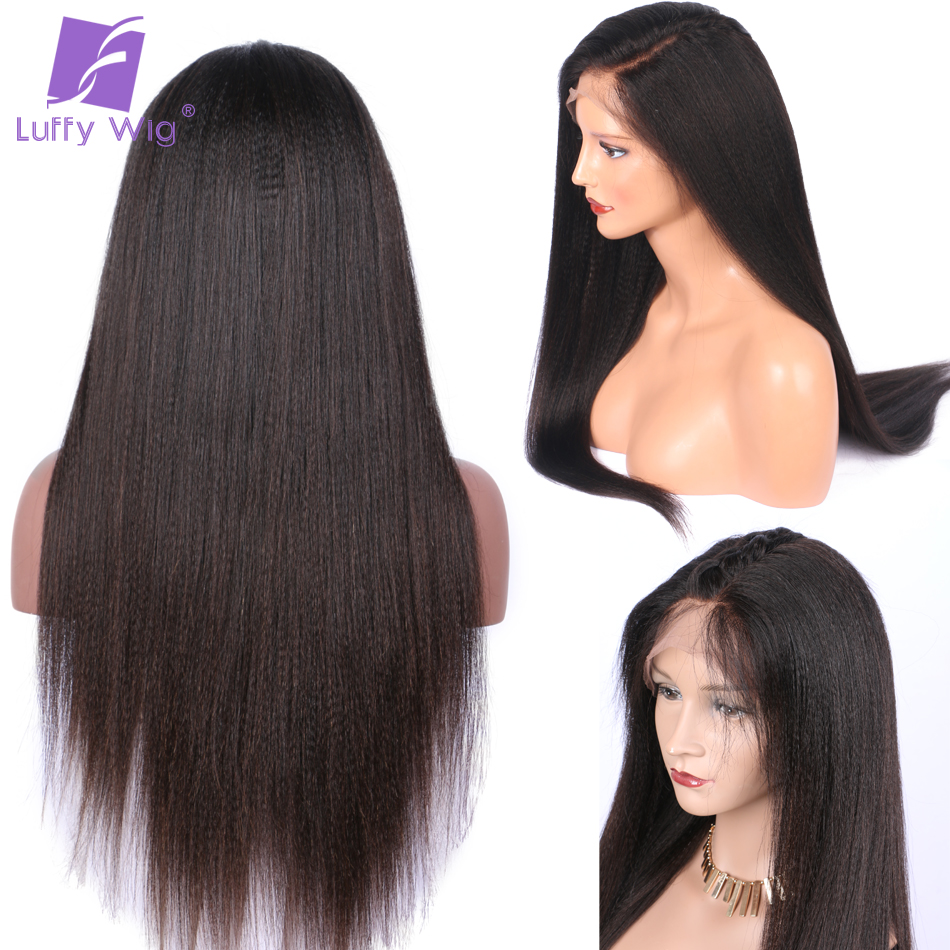 Image 5 - Yaki Straight Fake Scalp Human Hair Wigs 13x6 Lace Front PrePlucked Medium Ratio Glueless Remy Brazilian Bleached Knots LUFFY-in Human Hair Lace Wigs from Hair Extensions & Wigs