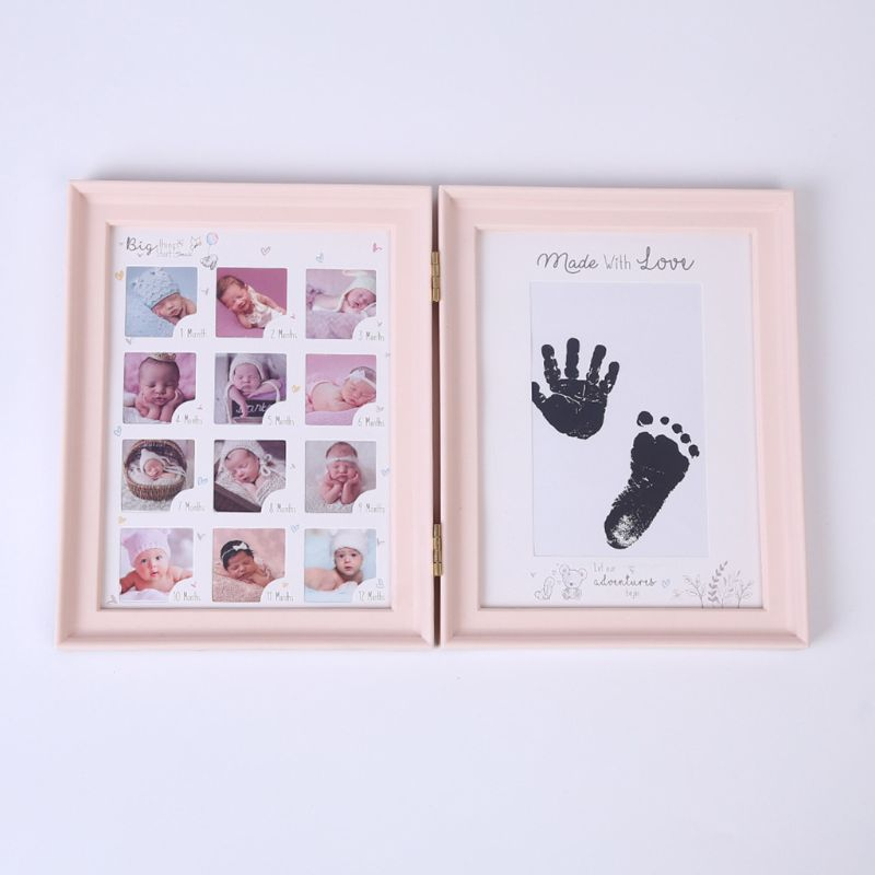 Newborn Baby Hand Foot Ink Pad Print Infants Full Moon Age Growth Photo Frame K4UE