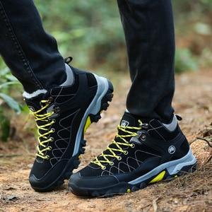Image 5 - Junjarm novos homens botas de inverno com pele 2019 quente botas de neve homens botas de inverno sapatos de trabalho calçados masculinos moda borracha tornozelo sapatos