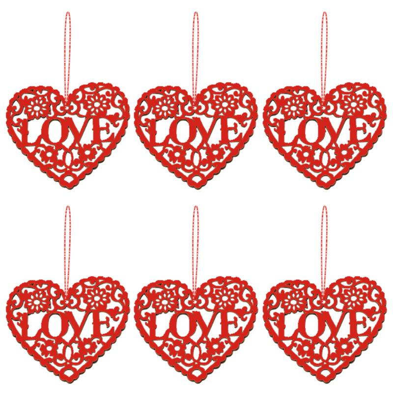 10pcs/bag Wooden Hollow Love Heart Pendants Wedding Valentines Day Decor For Home Party Tree Wedding Party DIY Decor Gifts