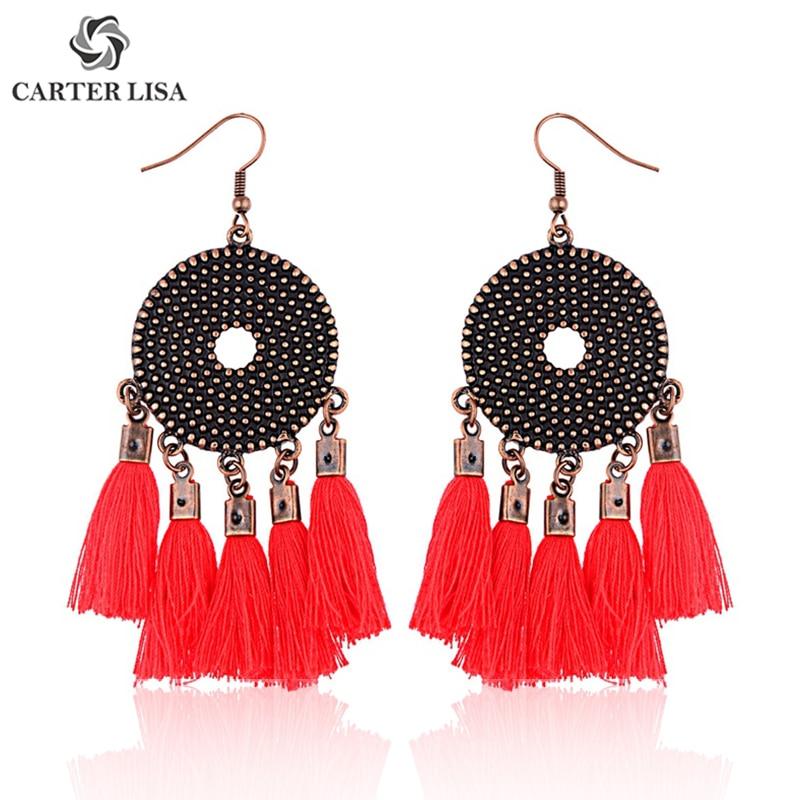 CARTER LISA Popular Bohemian Round Tassel Dangle Statement Hook Earrings For Women Ethnic Fashion Boho Jewelry Gifts Present