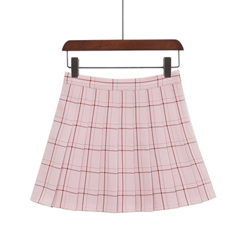 PEONFLY Sweet Women Pleated Skirt Fashion Plaid A-Line Mini High Waist Chic Skirt Kawaii Summer Casual Ladies Plaid Skirt - type2 pink, XS
