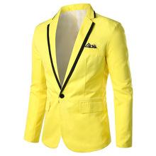 Moda męska garnitur blazers nowa moda męska slim solidny kolor garnitur kurtka męska business casual formalne marynarki 6 kolorów opcjonalnie tanie tanio auguswu Pojedyncze piersi Marynarek COTTON Poliester Pełna Smart Casual REGULAR Ścięty