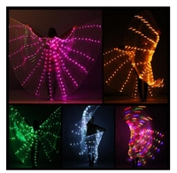 Free shipping Colorful Women's Belly Dance Costume Angle LED Isis Wings No Stick White Red Rose Green Yellow christmas gifts