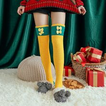 Women Winter Thick Coral Velvet Over Knee Sock Cartoon Warm Thigh High Stockings