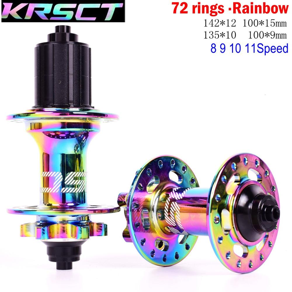 KRSEC Colorful 32 <font><b>Holes</b></font> <font><b>Bicycle</b></font> <font><b>Hub</b></font> QR Thru Axis 5 Bearings 6 Pawls 72 Clicks AM FR MTB Mountain Bike Rainbow <font><b>Hubs</b></font> 8 9 10 11s image