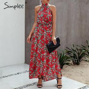 Image 2 - Женское платье с цветочным принтом Simplee размера плюс, без рукавов, с поясом и высокой талией, богемное Макси Платье, повседневные праздничные Вечерние платья на лето