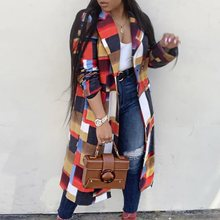 Plus Size 3XL Women Autumn Winter Plaid Long Coats Fashion African Ladies Wool Blends Overcoat Elegant Office OL Trench Coat цены онлайн