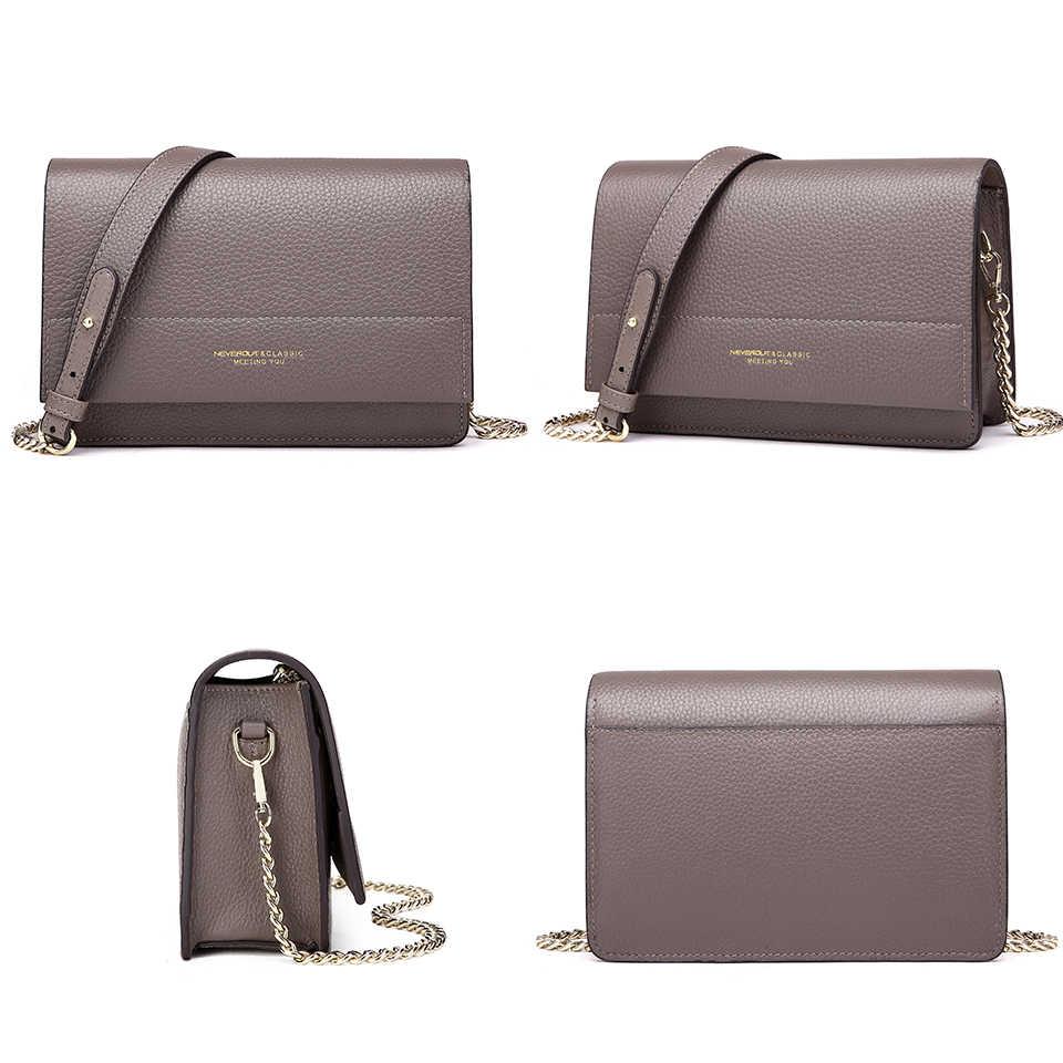 نيفر اوت لينة حقيبة جلدية أصلية للنساء السيدات الصغيرة رسول محفظة الصلبة رفرف الكتف كيس سلسلة Crossbody شنطة يد صغيرة