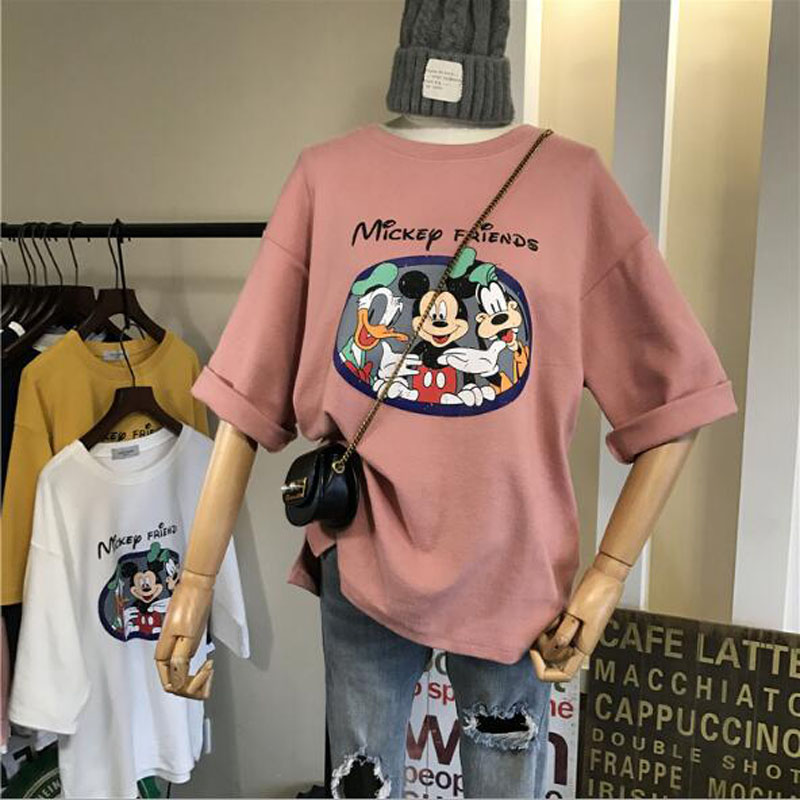 Lovely Cartoon Print T Shirts Women Spring Summer New Short Sleeve Round Neck Woman T-shirt Cotton Spandex T Shirt Women