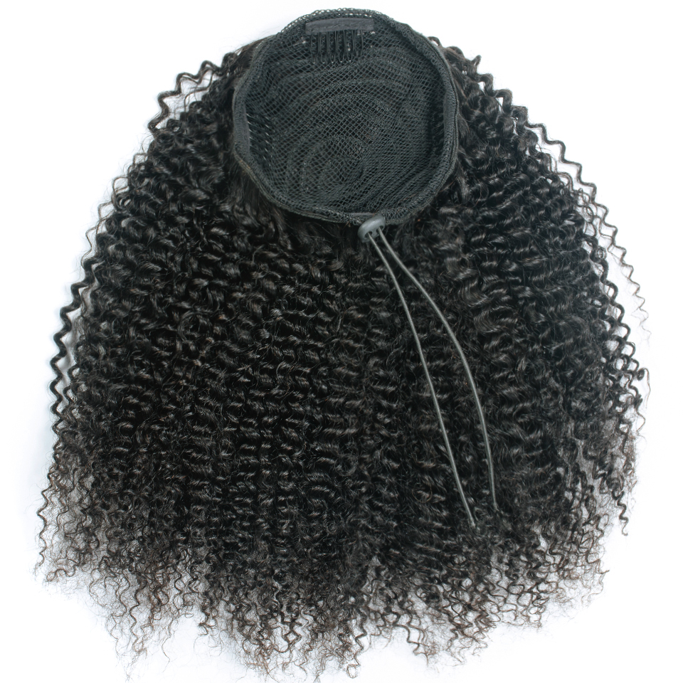 Afro Kinky Curly Drawstring Ponytail Human Hair Brazilian Remy Hair Extensions Pony Tail For African American Yepei Hair