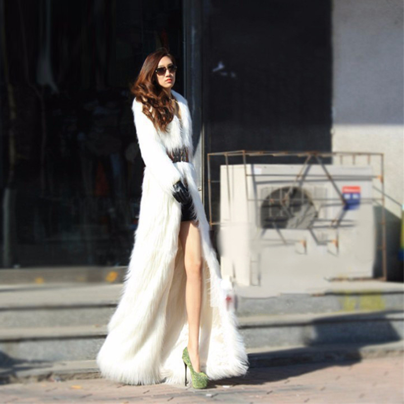 New Winter Women Lengthen Faux Fox Fur Coat Fashion Long Slim Warm Turn-down Collar Fur Coats Parka PC168