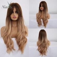 ALAN EATON Ombre волнистые парики черный коричневый блонд средняя часть косплей синтетические парики с челкой для женщин длинные волосы парики поддельные волосы