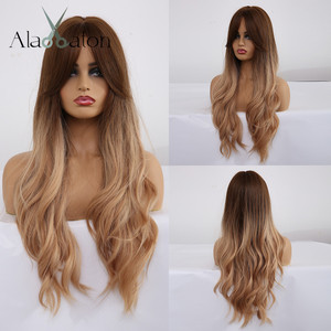 ALAN EATON Ombre Wavy Wigs Black Brown Blonde Middle Part Cosplay Synthetic Wigs with Bangs For Women Long Hair Wigs Fake Hair(China)