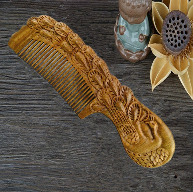 Double-Sided Carving Junan Green Sandalwood Comb Anti-static Tangle Teezer Linyi Wood Comb Hair Dressing Massage Gift