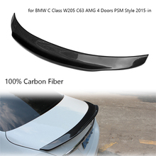 цена на Real Carbon Fiber Car Rear Spoiler Wing for BMW C Class W205 C63 AMG PSM Style 4 Doors 2015-in Car Spoiler Wing Tail Lip