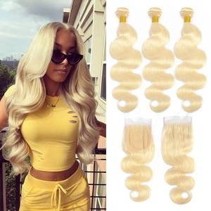 Liddy 613 blond wiązki z zamknięciem brazylijski ciało fala nie remy ludzki włos wyplata pakiet 613 miód blond zestawy z zamknięciem