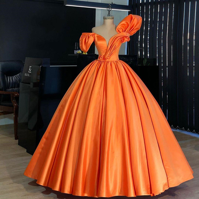 Orange Ball Gown prom dresses 2020 Puffy sleeve Formal Wear Party Dress Evening Dresses Plus Size Abendkleider robe de soiree