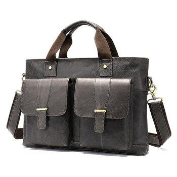 Leather Briefcases Men Retro Man Bag Leather Business Laptop Computer Briefcase 14-inch Cross Section Shoulder Messenger Bag