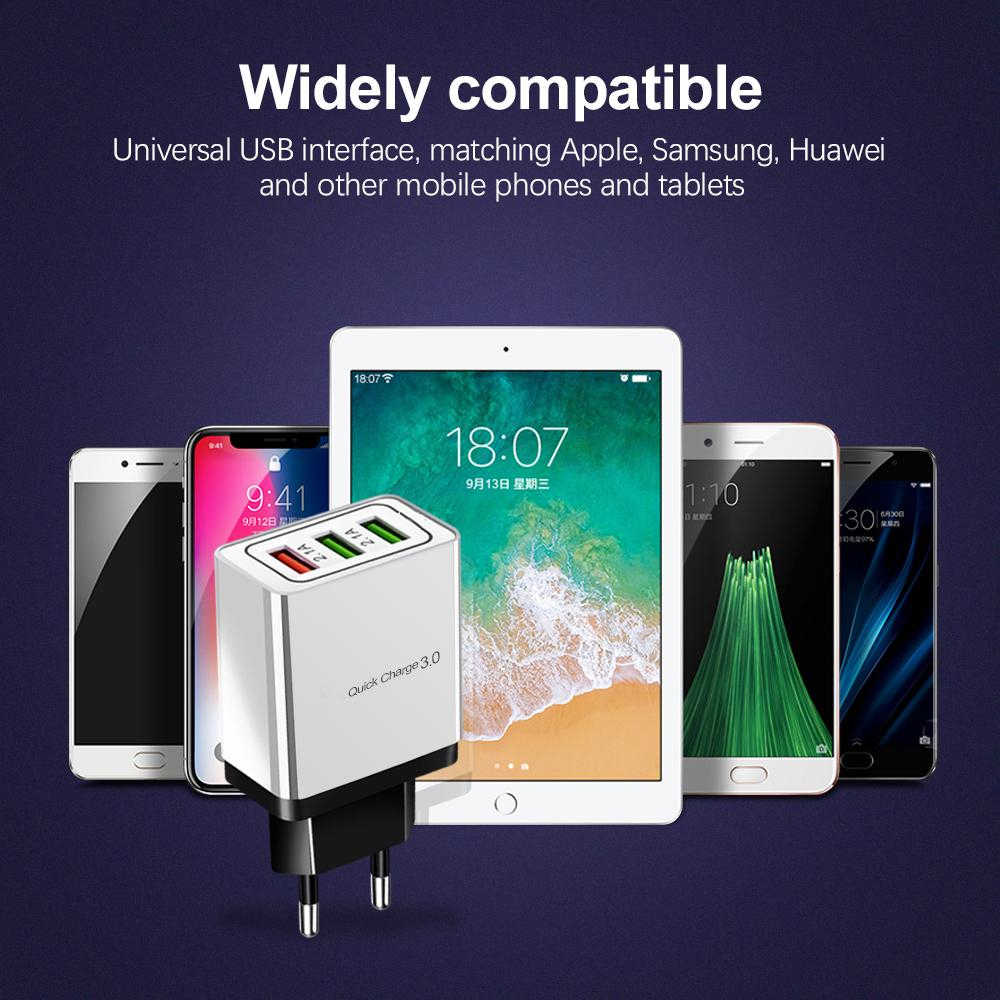 Redgiko سريعة شحن QC 3.0 الذكية سريع 3 USB جدار شاحن هواتف xiaomi سامسونج هواوي سريعة تهمة محول الشحن الهاتف المحمول