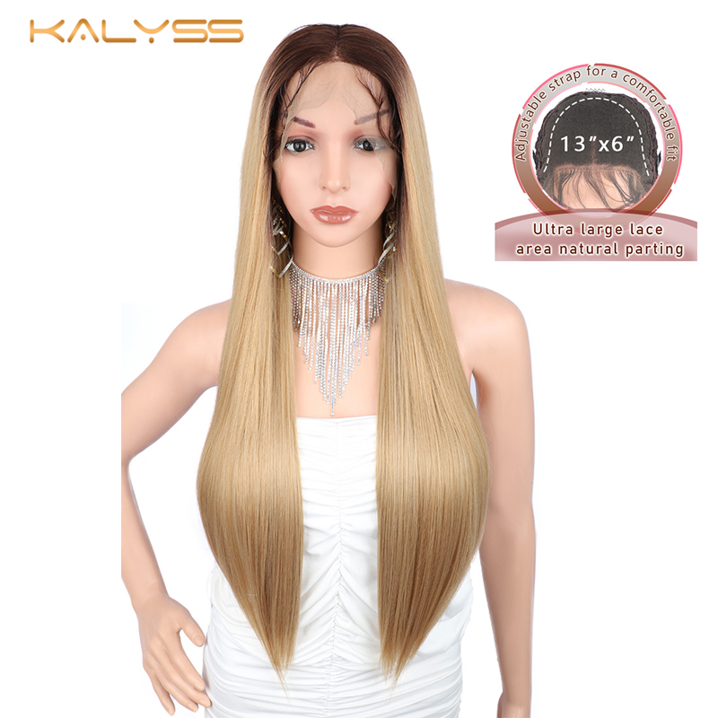 Kalyss 28 inch 13X6 Long Straight Synthetic Lace Front Wigs for Black Women 613 Blonde Wigs Women's Cosplay Wig Heat Resistant