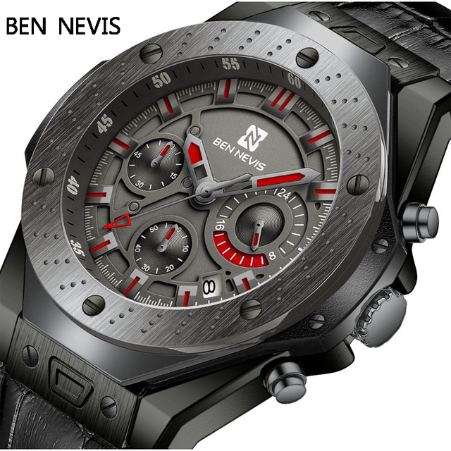 Ben Nevis Men Watches Top Brand Luxury Quartz Leather Watch Men Military Sports Date Analog Watch For Men Relogio Masculino 1