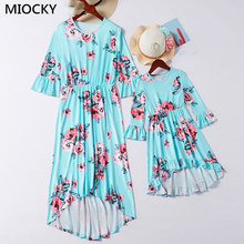 Autumn Family matching clothes 2019 Mom Daughter Print Flare Sleeve Irregular Mother daughter dresses mommy and me Clothes E0269