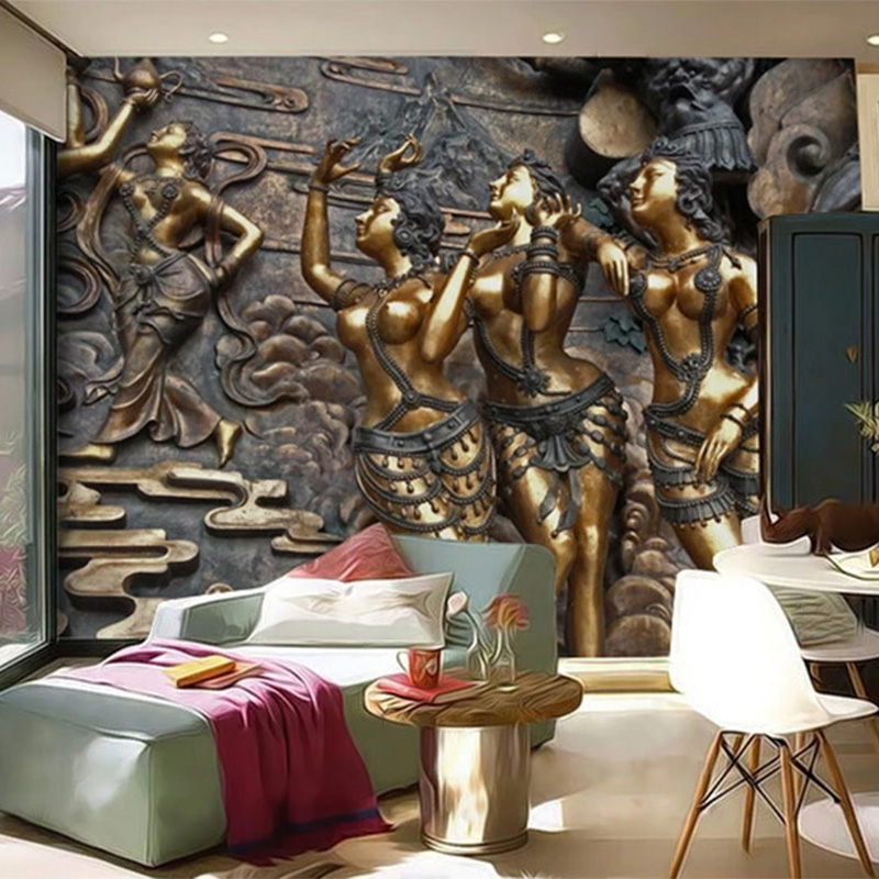 European Style Wallpaper 3D Embossed Figure Murals Living Room TV Sofa Bedroom Retro Background Wall Decor PVC Waterproof Fresco
