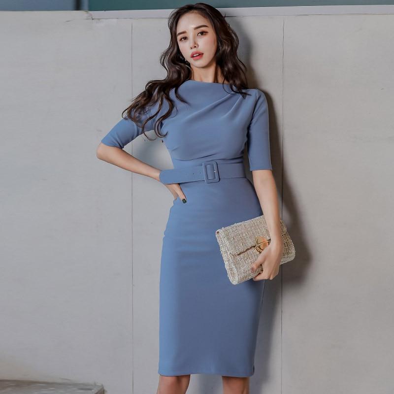 BacklakeGirls Bodycon Women Office Blue Sexy Scoop Neck Satin Dress Spring Autumn Belt Design Knee-length Party Dress