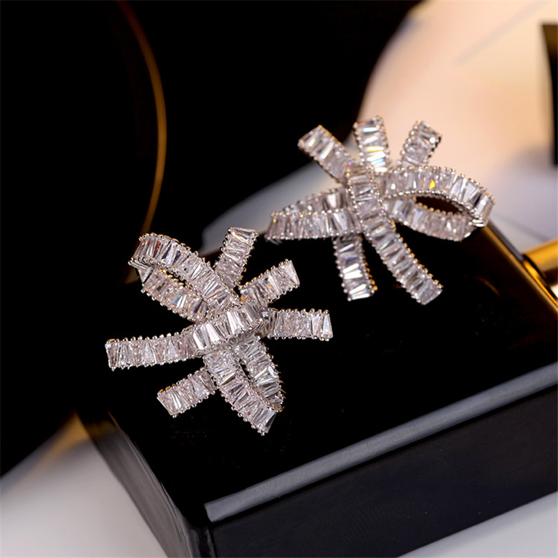 New Arrival 925 Silver Color Cute Bowknot Stud Earrings For Women With Zircon Stone Fashion Korean Earrings 2020 Female Jewelry