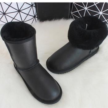Buty z owczej skóry damskie buty z naturalnej wełny buty zimowe z owczej skóry do połowy łydki ciepłe futrzane buty z prawdziwej skóry buty damskie tanie i dobre opinie G VERA Luxury CN (pochodzenie) Futro Stałe Sheepskin Boots Women Dla dorosłych Mieszkanie z Buty śniegu Z wełny Okrągły nosek