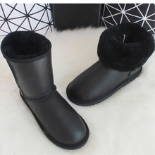 Fur Boots Shoes Winter Natural-Wool Genuine-Leather Women Mid-Calf Warm Brand