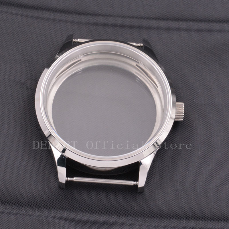 43mm Silver 316L Stainless Steel Sapphire Glass Mens Watch Case Fit ST36  ETA 6497 6498 Mechanical Wristwatches Fit 36.4 -39mm